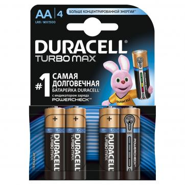 Батарейка алкалиновая Duracell Turbo АА 4 шт. duracell lr6 2bl turbo 2шт aa