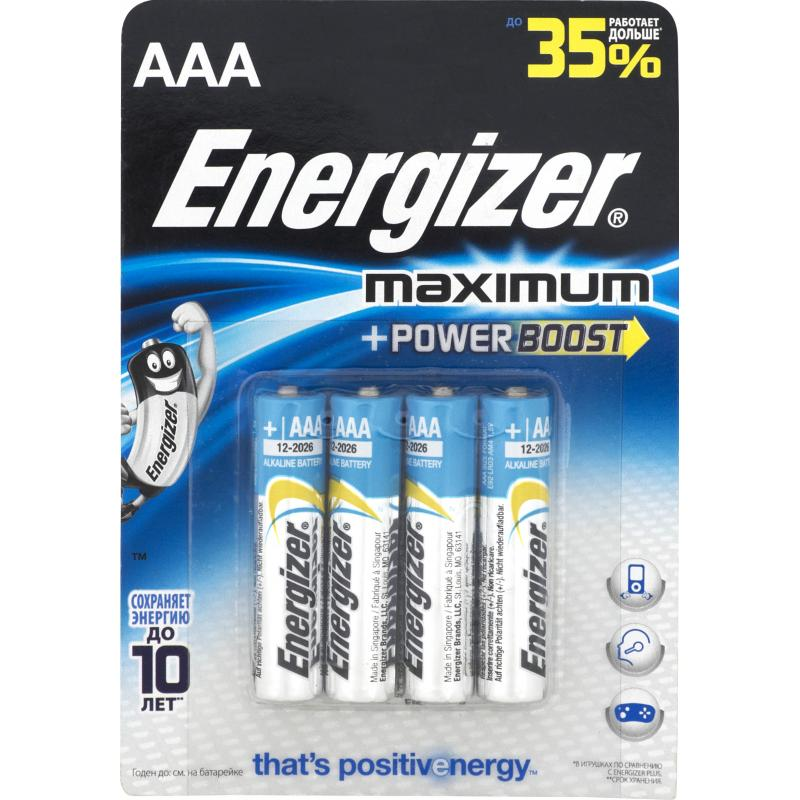 Батарейка алкалиновая Energizer Maximum AAA/LR03 4 шт.